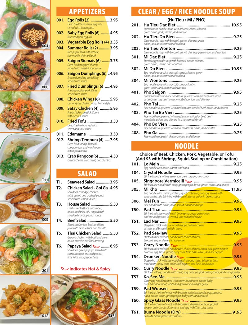 Saigon Cafe Cafe Menu